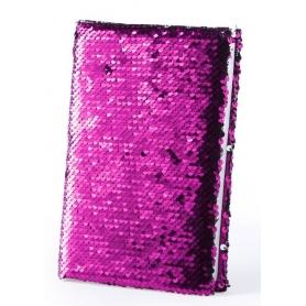 Caderno rosa de lantejoulas