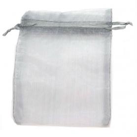 Saco de organza cinza prateado 13 x 17