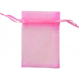 Saco de organza rosa chiclete 13 x 17