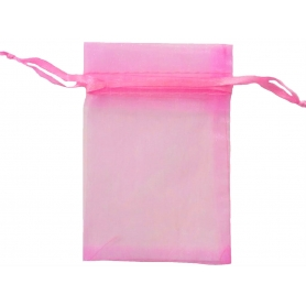 Saco de organza de chiclete rosa 9x15