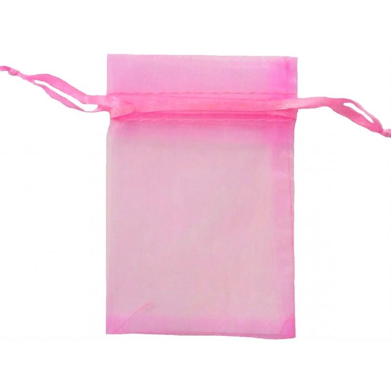 Saco de chiclete de organza rosa 7x10