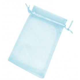 10 x 13 sacos de organza azul claro