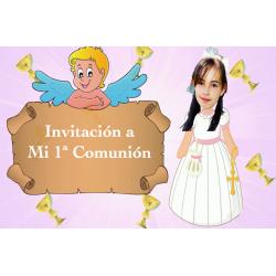 Convite animado menina comunhão
