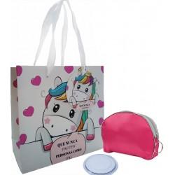 Bolsa cosmética rosa com espelho e bolsa unicórnio