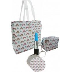 Bolsa de impressão unicórnio com caneta, espelho e bolsa