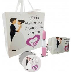 Conjunto de presente em saco de casamento com espelho,...