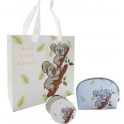 Presente com desenho de coala, bolsa, espelho e bolsa