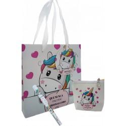 Presente de agradecimento, bolsa e caneta em saco de...