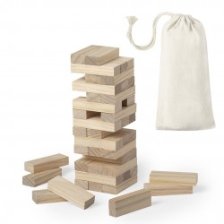 Jogo de madeira Jenga em saco de presente