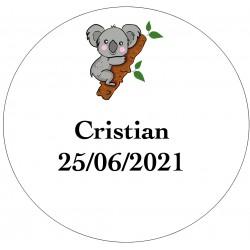 Etiqueta do Koala a personalizar com nome e data