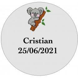 Adesivo de coala transparente personalizado com nome e data