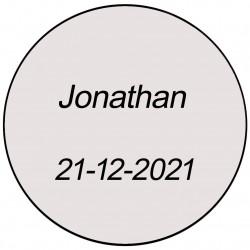 Adesivo transparente redondo com nome e data