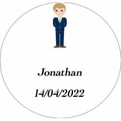 Adesivo de menino da comunhão, redondo personalizado