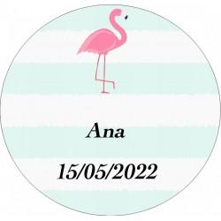 Adesivo de flamenco redondo personalizado com nome e data