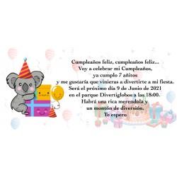 Convite personalizado do koala para o aniversário
