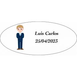 Adesivo de menino da comunhão, oval personalizado