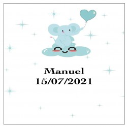 Adesivo de elefante azul, quadrado personalizado para...