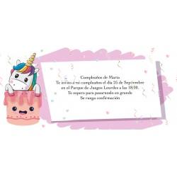 Convite personalizado do unicórnio para aniversário