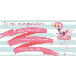 Convite personalizado do flamingo para aniversários