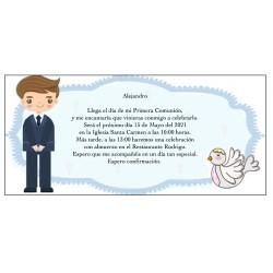 Convite personalizado do menino do comunhão