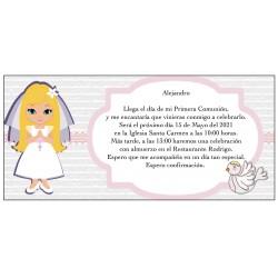 Convite personalizado do comunhão da menina