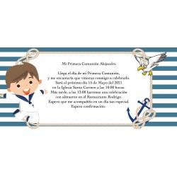 Convite personalizado do comunhão do menino de marinheiro