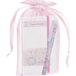 Caderno de elefante personalizado com saco de batizado de...