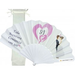 Ventilador personalizado para casamentos com saco de organza