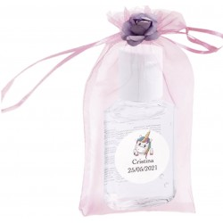 Gel hidroalcoólico, bolsa, flor e adesivo personalizado...