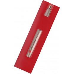 Caneta esferográfica prateada com manga e adesivo para...