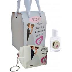 Bolsa e gel de casamento hidroalcoólico em caixa...