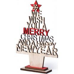 Árvore de Natal de madeira com mensagem cortada