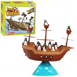 Jogo de tabuleiro do navio pirata, pingüins ao mar
