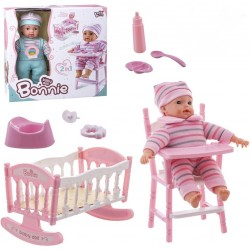 Bonnie Doll 2 em 1 berço, cadeira alta e sons