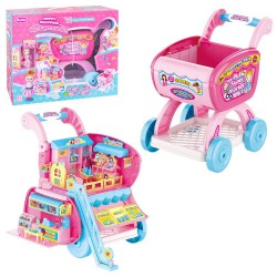 Carrinho de compras de brinquedo com boneca