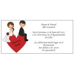 Coração de Noivo de Convite de Casamento