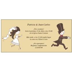 Convites de casamento engraçados com os noivos correndo
