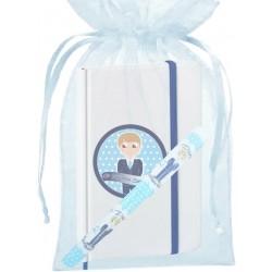Caneta de comunhão infantil, com bolsa e caderno com adesivo