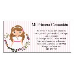 Convites personalizados de comunhão feminina