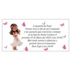 Convite de comunhão da menina Patri com borboletas