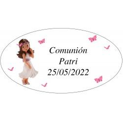 Adesivo oval da menina da comunhão Patri
