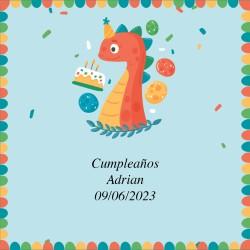 Adesivo de aniversário com desenho de dinossauro 5 x 5 cm