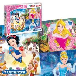 Quebra-cabeça Princesas da Disney 3 x 48 peças