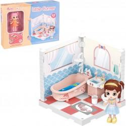 Móveis de banheiro de boneca colecionável de canto