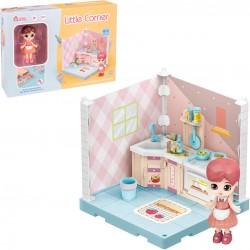 Boneca colecionável pequeno armário de cozinha de canto