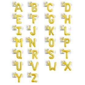Balões de letras douradas