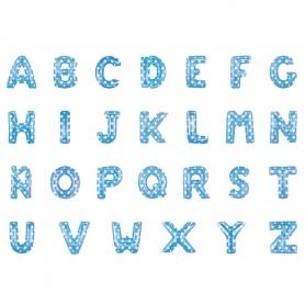 Letras de balões azuis
