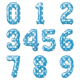 Balões de números azuis