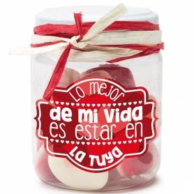 Frascos de doces com mensagens