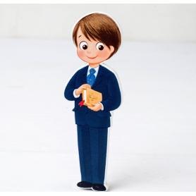 Figura 2d traje de comunhão infantil de madeira e